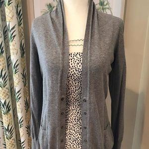 Gray Longer Cardigan Shawl Collar Snap Up Sweater